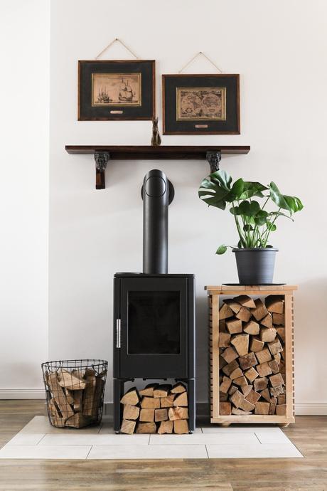 rangement bois bûche poêle granule plante verte décoration design hivernale