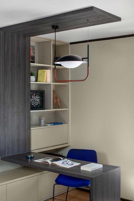 décoration singulière espace travail salon bureau intégré bibliothèque blog déco
