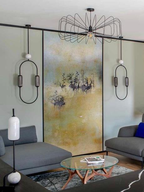 salon vert de gris paris moderne décoration originale fresque murale