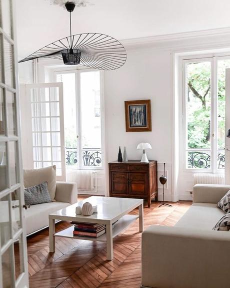 déco bois et blanc salon sobre élégant parquet bois lamé blog clem around the corner