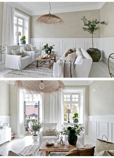 salon déco champêtre rustique table basse rectangle bois brut tapis blanc à frange blog déco clematc