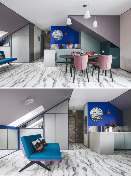appartement témoin cuisine mur bleu klein violet salle à manger marbre