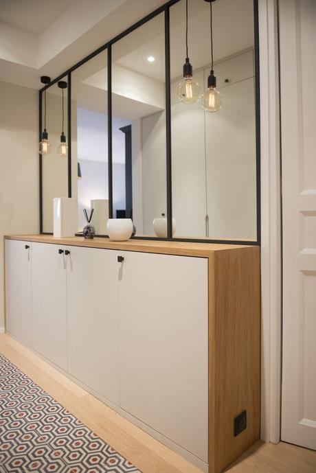 miroir rectangle noir meuble bois inspiration décoration intérieure