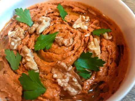 Cuisine levantine – Mouhammara (purée de poivrons aux noix)
