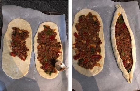 Pide à la viande hachée (ou épinards) en version classique et en version Thermomix