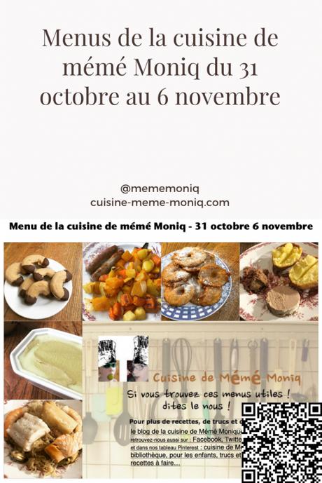 menus de la cuisine de mémé Moniq du 7 au 13 novembre