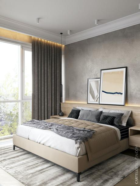maison à Saint-Pétersbourg chambre amis grise bois mur béton ciré tête de lit design moderne cosy hygge