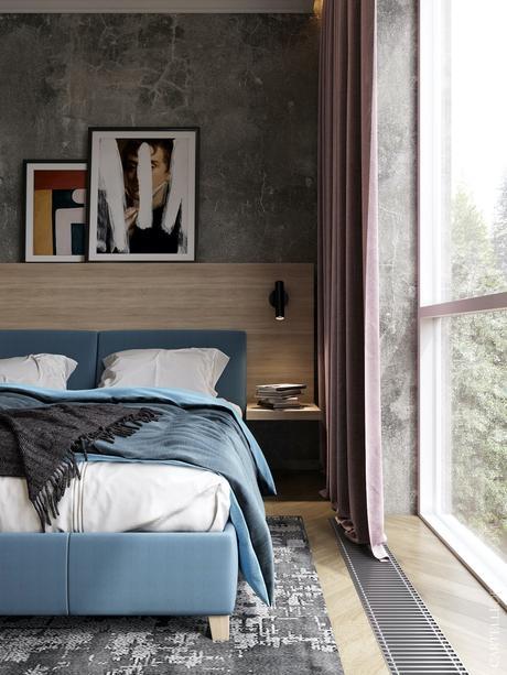 chambre parentale lit double bleu clair rideaux vieux rose prune mur autocollant sticker effet marbre noir
