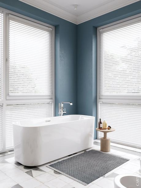 salle de bain baignoire ilot blanche bleu carreaux ciment gris motif géométrique