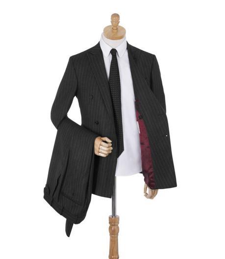 costume rayé homme gris