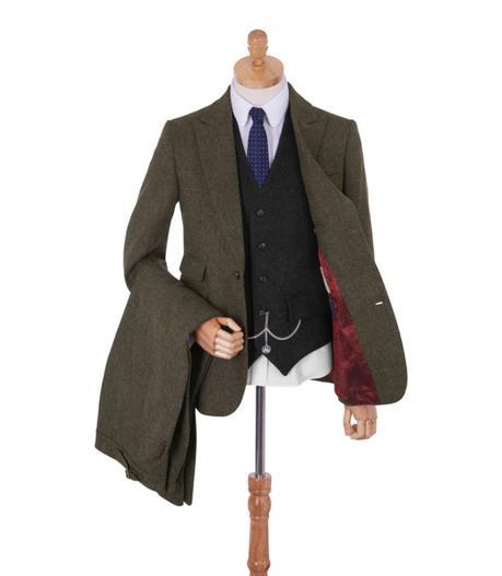 costume tweed vert homme