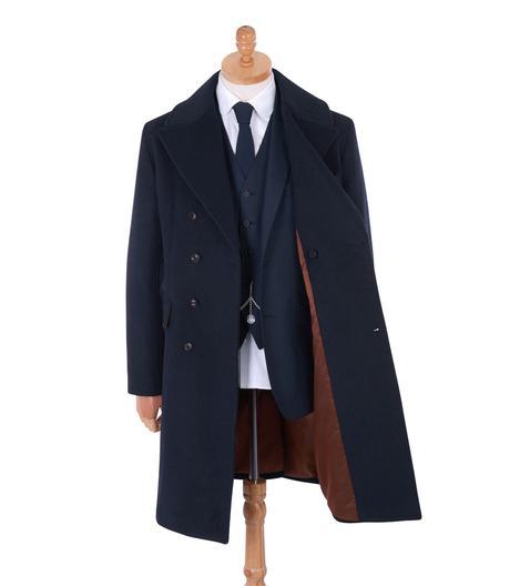manteau long homme bleu marine