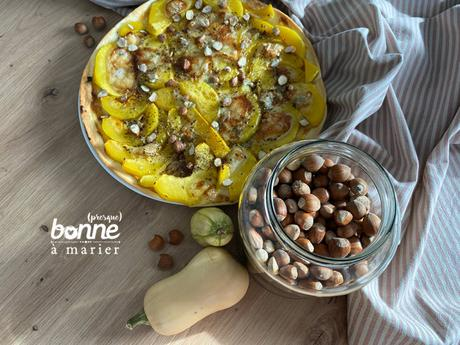 Tarte au butternut, gorgonzola et noisettes