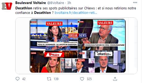Décathlon retire ses pubs de CNews. La fachosphère en PLS (hé hé… :)