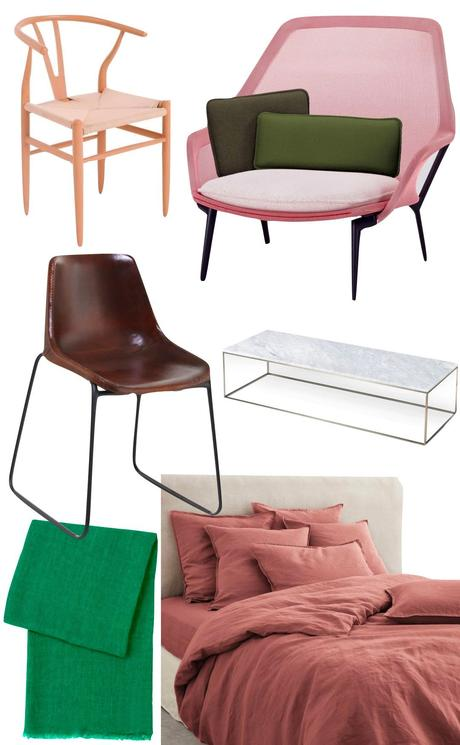 chaise design scandinave fauteuil toile rose coussin vert kaki
