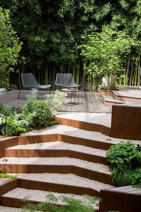 jardin zen paris gravier cailloux marbre pierre bois bambou fougère clem around the corner