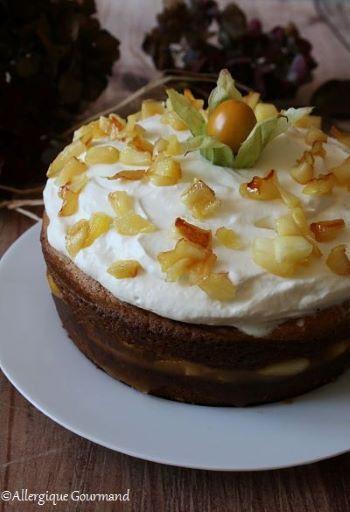 Layer cake pommes caramélisées chantilly coco { sans gluten, sans lait, sans œufs }