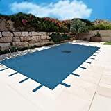 Bâche Piscine 6x10 m - Filet d'écoulement - Bleue - Résistante - Anti-UV - Œillets