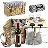HappyPicnic Panier Pique-Nique en Osier pour 4, 4 kit, Panier en Osier de Pique-Nique Service Cadeau de vin en Bambou avec Snack Table pour Le Camping et extérieur Fête