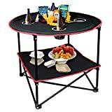 hangou Camping Table Portable Table de Pique-Nique Pliante légère avec Sac de Transport, Parfait pour l'extérieur, Pique-Nique, Plage, randonnée