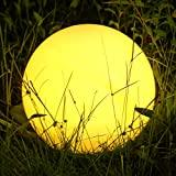 Albrillo RGB Lampe Solaire de Jardin - Boule LED Solaire avec Télécommande, Diamètre 30 cm avec 8 Couleurs, Rythme et Luminosité Réglables, USB Rechargeable, IP68 Lumière à Boule pour l'extérieur