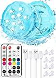 Idealife lumière LED Rechargeable USB LED Submersible avec telecommande wrgb LED de Couleur décorative étanche veilleuse eclairage Aquarium LED Lampe Piscine Hors Sol pour Spa Lumiere Jacuzzi fête