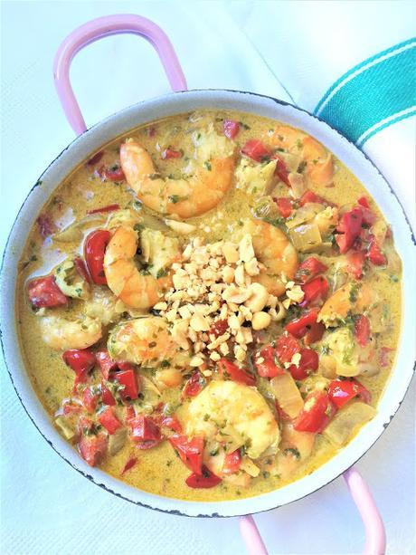 Curry de gambas au poivron