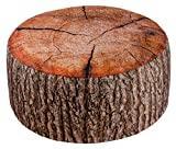 Brandsseller Pouf extérieur avec imprimé déco Tronc d'arbre | Pouf Gonflable pour intérieur et extérieur - Dimensions : 55 x 25 cm - Couloris: Marron
