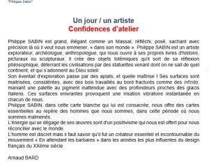 Galerie F A E à Boulogne exposition Philippe SABIN  » Braises et Lumière » jusqu'au 12 Décembre