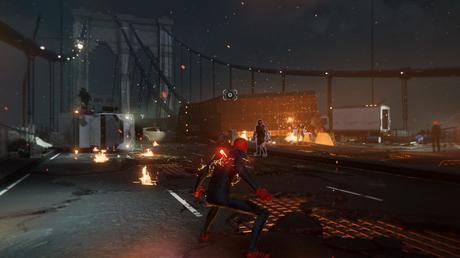 Spider-Man Miles Morales combat sur un pont