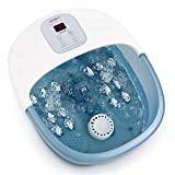 Bains de Pieds avec bulles de chaleur et vibrations, 14 rouleaux de massage pour musculaire du pied, température réglable pour une utilisation à bureau domicile