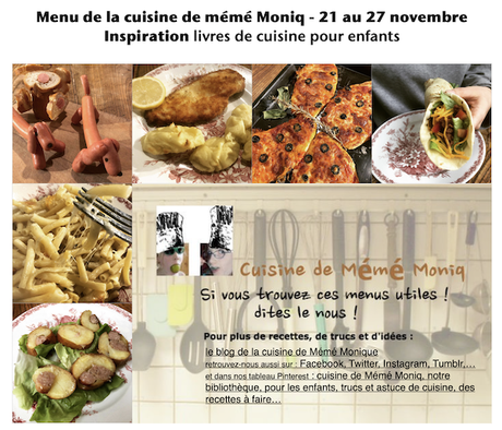 menus de la cuisine de mémé Moniq du 21 au 26 novembre