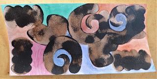 Quatre dessins: une série de formes abstraites et en lien avec des couleurs : un lyrisme onirique...