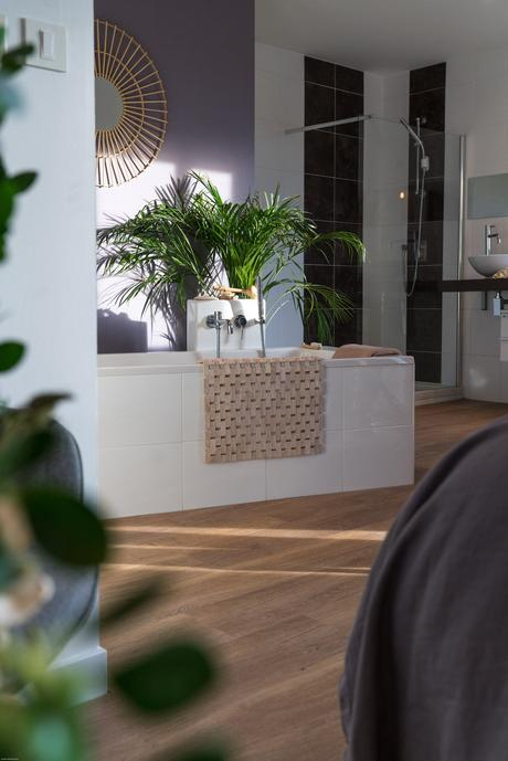 quel sol choisir style imitation bois parquet pour pièce humide salle de bain ouverte chambre