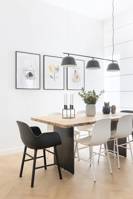 diy table repas plateau bois brut pied métal fin étroit rectangulaire