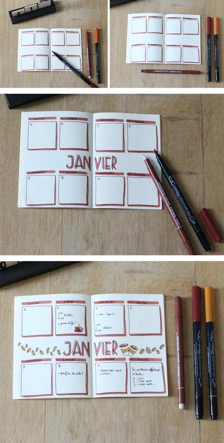 calendrier bujo cover janivier dessin café - blog déco diy