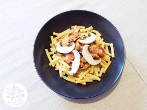 Recettes de macaronis au chorizo et champignons.
