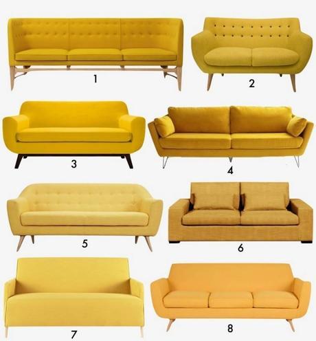 canapé jaune style retro vintage design decoration blog deco clem around the corner