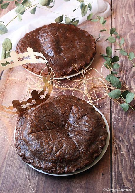 Galette des rois crème de pralin, pépites de chocolat, rhum {sans gluten, sans lait, sans œufs }