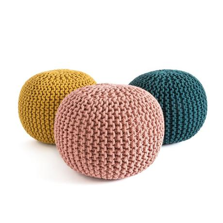 pouf tressé tricot jaune occasion pas cher seconde main déco meuble