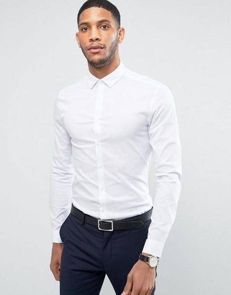 ASOS DESIGN super skinny shirt in white with button down collar | ASOS