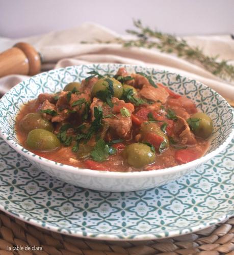 Sauté de veau aux olives vertes