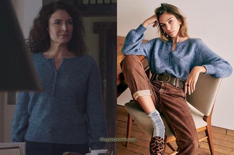 ICI TOUT COMMENCE : le pull bleu à col boutonné de Clotilde dans l'épisode 47