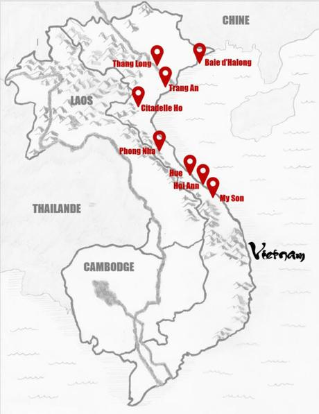 Carte sites Unesco Vietnam