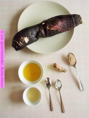 Carpaccio de radis noir au Curcuma (Vegan)
