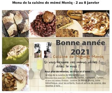 menus de la cuisine de mémé Moniq du 2 au 8 janvier