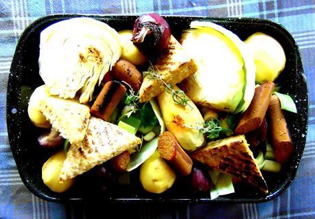 Braisé de légumes d'hiver avec tempeh et saucisse végétale