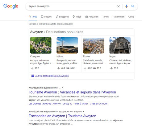 SERP : test de requête alternative