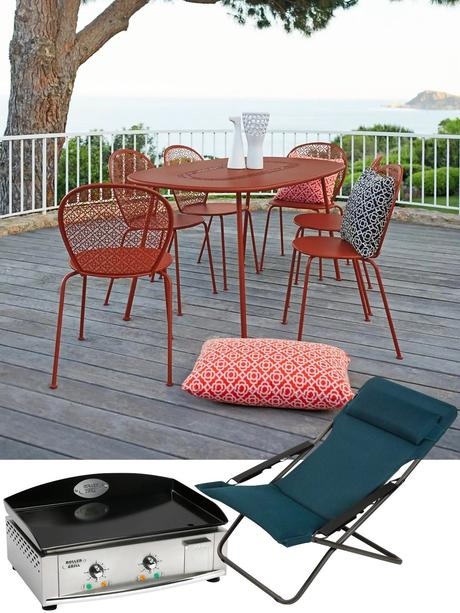table de jardin rouge brique terracotta terrasse design