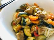 Porc mariné curry, légumes, facile